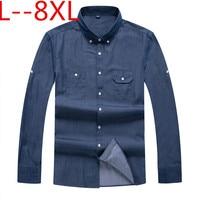plus size 10XL 8XL 6XL 5XL 4XL 2018 New Spring Autumn Casual Denim Shirts Men Loose Fit Brand Clothing Big large size