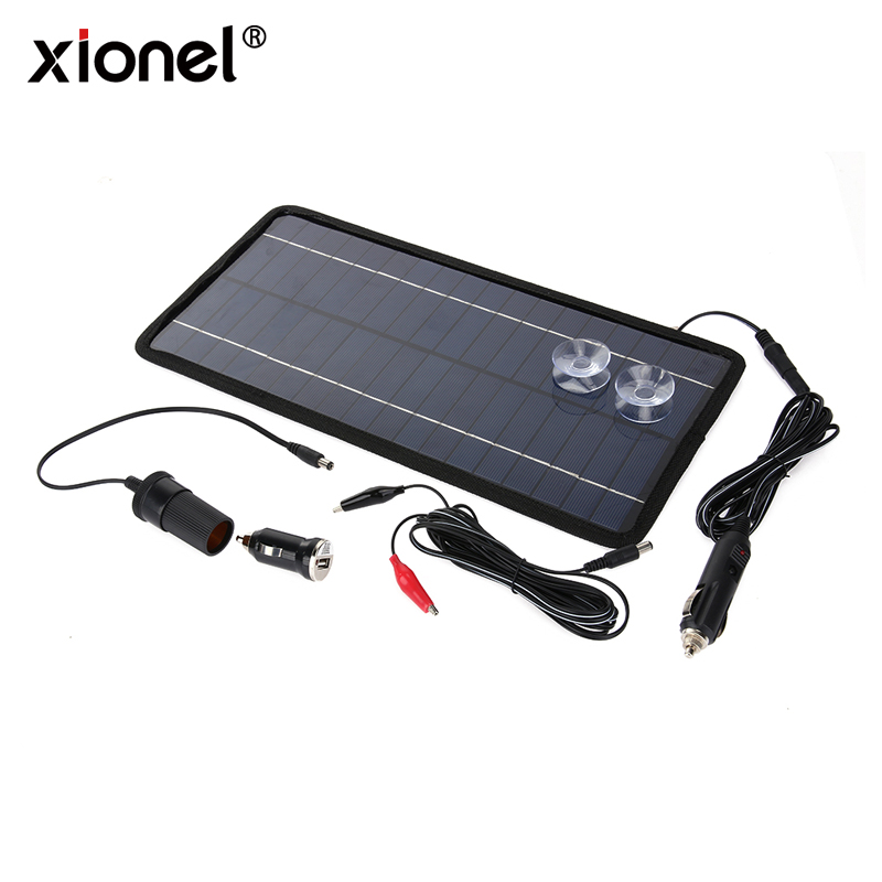 Xionel 12V 8.5W Monocrystalline Solar Panel Portable Solar Charger Module For Car Automobile Boat Rechargeable Power Battery