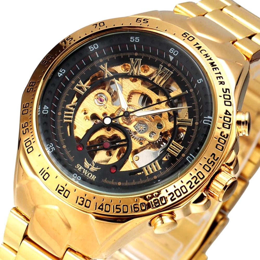 SEWOR Top Brand Luxury Sport Designer Bezel Gold Skeleton Mechanical Watch Men Military Stainless Steel Clock Wristwatches 2016 sewor skeleton steel men male clock sewor brand stylish big dial design classic army mechanical wrist dress sport watch