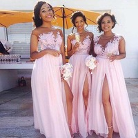 Fabulous Bridesmaid Dresses In Pink Color Long Chiffon Wedding Party Dress Scoop Neck Appliques Front Split Maid Of Honor Gowns