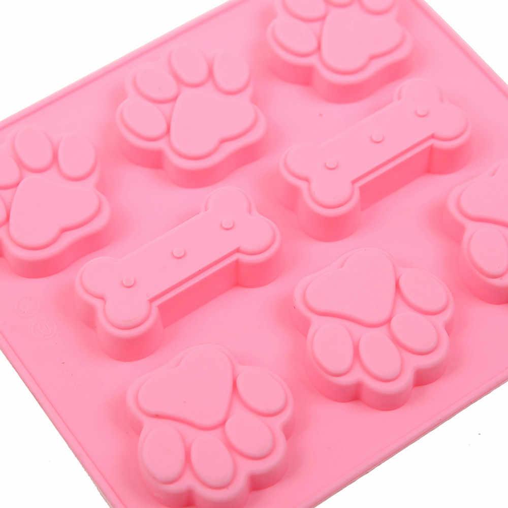 3D Pé Cão E Osso Silicone Ice Cube Bolo de Chocolate Cookies Soap Mold Mould Baking Cozinhar Ferramentas Cozinha Decoração DIY acessórios