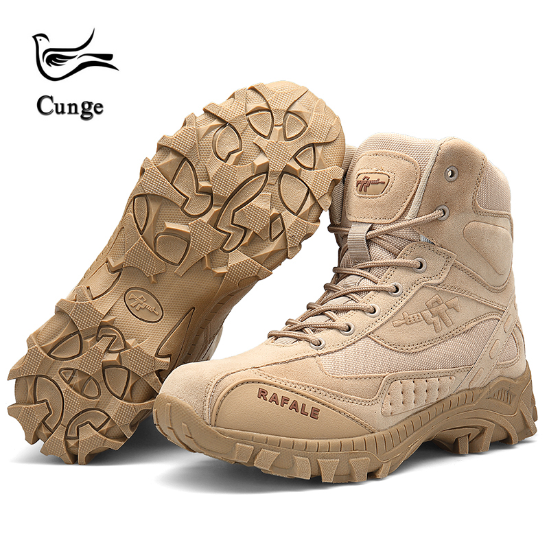 cunge Men tactical boots Outdoor combat travel sneakers Breathable hiking shoes Mountain climbing Anti skid trekking