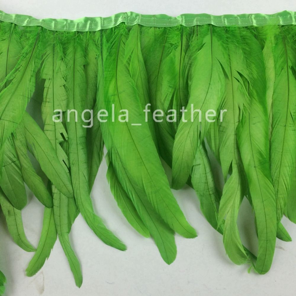 Free Shipping- 5 yards Lime Green Rooster Feather Trimming Fringe on Satin Header 12-14inch in width for sewing