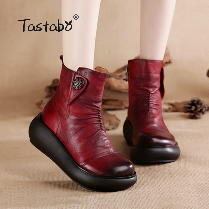 Tastabo Winter Boots Women 2018 Genuine Leather Ankle Boots for Women Soft Wedges Platform Shoes Ladies Botas mujer