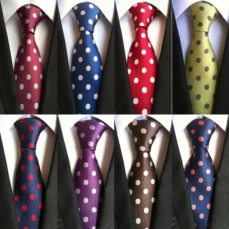 Factory Seller Vintage 8cm Men's Classic Tie 100% Silk Solid Polka Dots Cravatta Ties Man Fashion Necktie Bridegroom Business