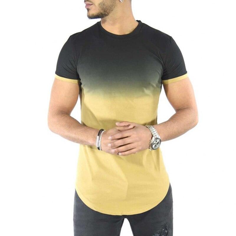 2018 Hit Color o-cuello hombres camiseta degradado de Color elástico Delgado manga corta verano moda curvada Hem Streetwear tops