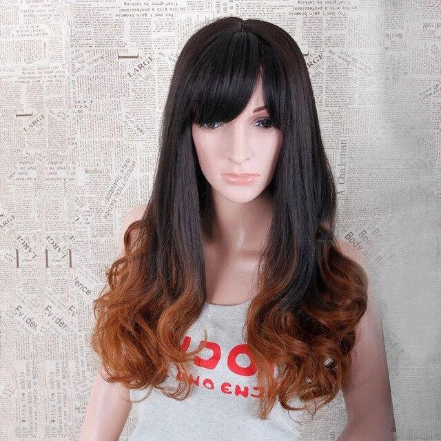 2015 New Female Head Long Hair Color Gradient Brown Hair Cover Hot