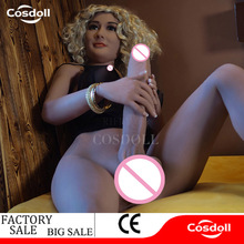 Cosdoll 162cm / 5.21ft New Arrival Shemale Sex Doll 3D Dildo Vagina Big Breasts Bisexual Silicone Sex Dolls for Men Women Love