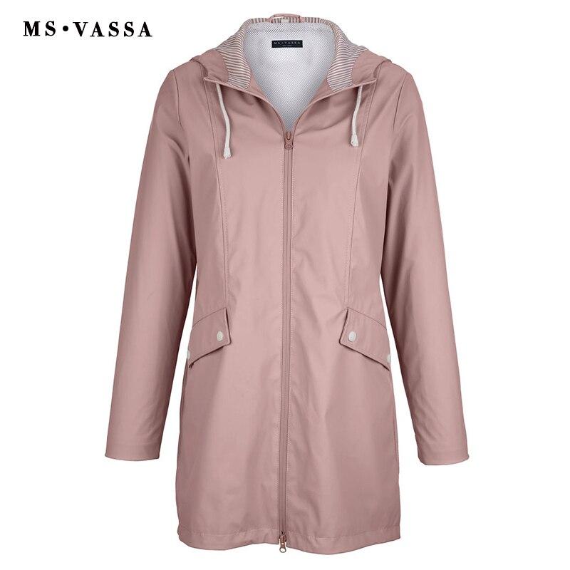 MS VASSA gabardina para mujer 2018 nuevo abrigo para mujer capa de película a prueba de lluvia cuello vuelto con capucha plus tamaño 5XL 6XL-in Zanja from Ropa de mujer    2