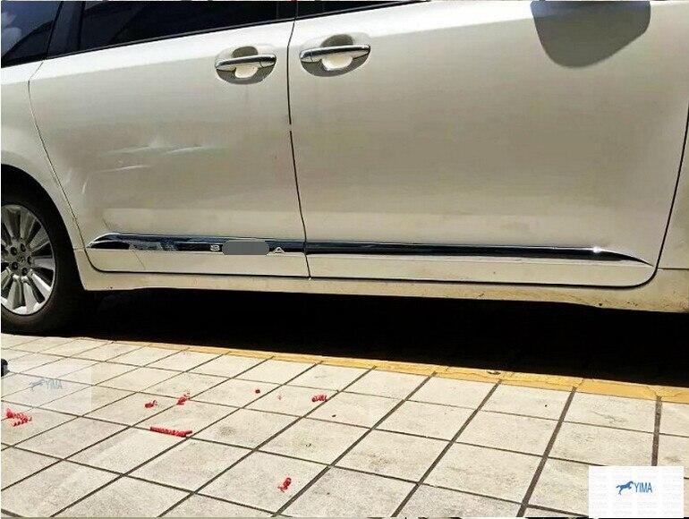 ABS Side Door Body Molding Cover Trim 4 pcs For Toyota Sienna 2013 - 2017 abs chrome body side door trim molding exterior cover for hyundai santa fe ix45 2013 2015 door side molding trim side door trim