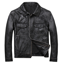 VANLED shipping.safari clothes soft casual leather Jacket man genuine Leather slim
