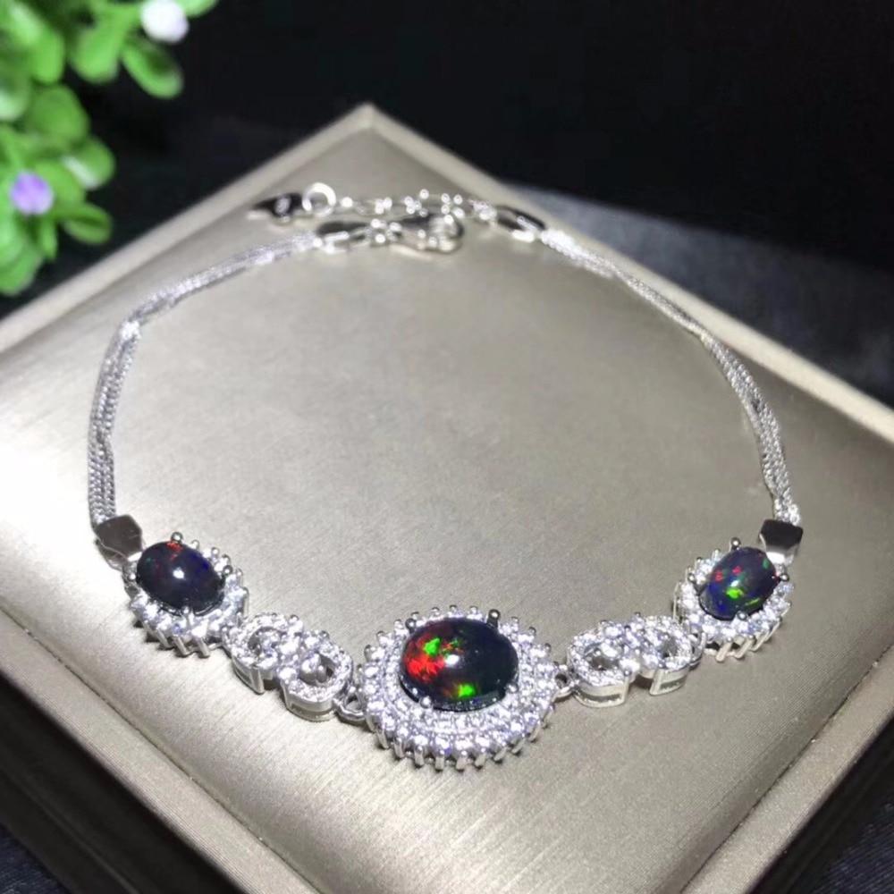 Natural black opal bracelet mysterious night sky nebula changing colors Australian origin 925 silver