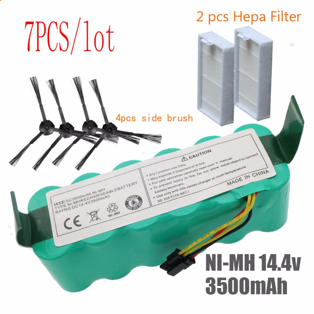 цена 7pcs NI-MH 14.4V High quality 3500mAh FOR panda X500 Battery for Ecovacs Mirror CR120 Vacuum cleaner Dibea X500 X580 X600battery