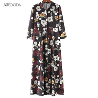 NATOODA Fashion Print Pleated Women Dress Bodycon Turn Down Collar High Waist Casual Long Autumn Winter
