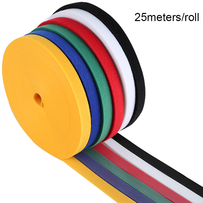 25meter 1cm 1.5cm 2cm Roll Reusable Magic Strap Tie Back To Back Hook Loop Cable Ties Home Kitchen Nylon Fastener Accessorys