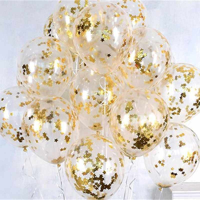 10pcs/lot Clear Balloons Gold Star Foil Confetti Transparent Balloons Happy Birthday Baby Shower Wedding Party Decorations