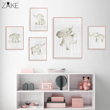 Nordic Watercolor Nursery Elephant Canvas Print Cute Scandinavian Painting Wall Picture Poster Baby Room Decor