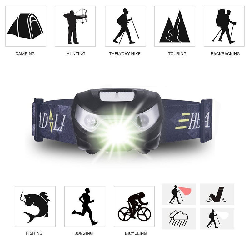 Купить с кэшбэком Fishing LED Headlamp Rechargeable Headlight White light+Red light 5 switch modes Used for running, camping, Adventure,etc.