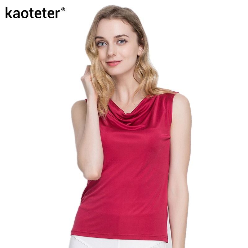 100% Real Silk Women's Tank Tops Femme Ärmlös Candy Färg Kvinnor Tröja Solid Basic Wild Modell Kvinnlig Top Shirt For Woman