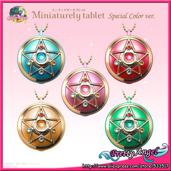 Original Bandai Sailor Moon 20th Anniversary Miniaturely Tablet Special Color Ver. Keychain original bandai shokugan sailor moon butterfly ribbon charm key chain sailor moon