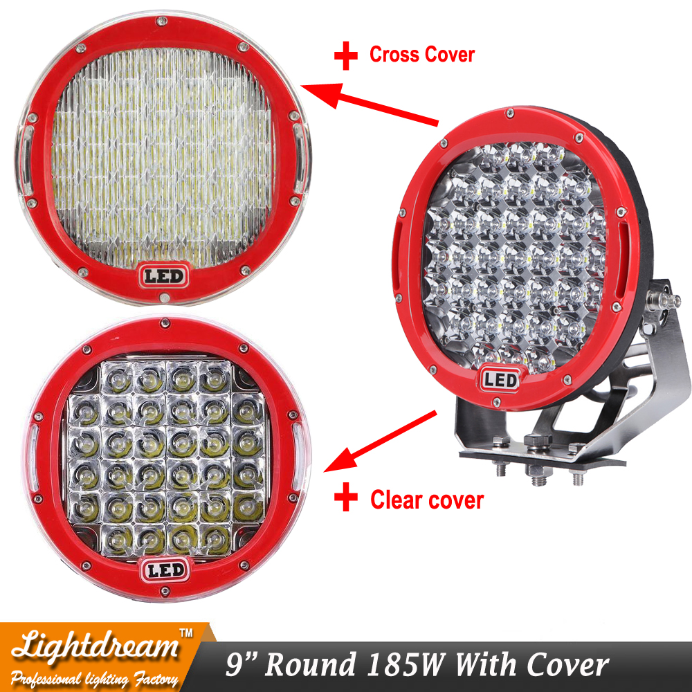 Round 185W Red 9inch Led Driving Work Light 4x4 Offroad Lights Free Cover For Truck 4WD SUV ATV CAR 12V 24V External Lights x1 hot 7 inch round 60w 3000lm led tunning light silver for offroad truck 4 4 suv atv car 12v 24v