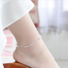 TJP Top Quality 925 Silver Women Anklets Jewelry Latest Female Balls Double Layer For Girl Lady Engagement Bijou