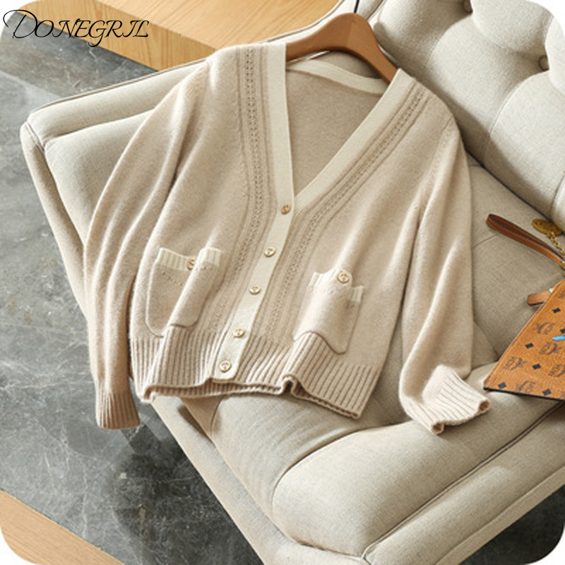 2019 spring autumn new high quality cashmere knit cardigan female V neck short thin large size coat wool knit wild shirt