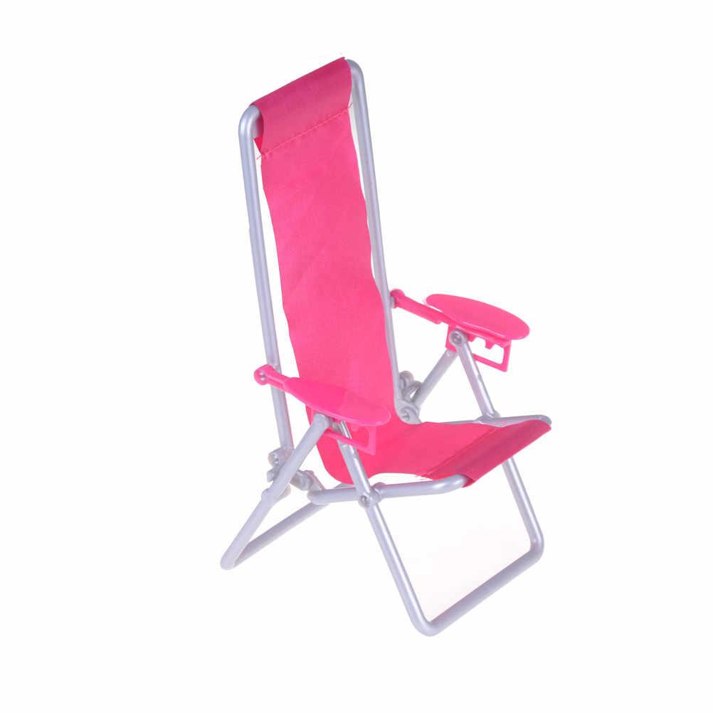 12*11*19.5cm Deckchair Lounge Strand Stoel Voor voor Poppenhuis 1:12 Schaal Opvouwbaar Voor Mooie Miniatuur