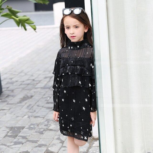 2017 Girls Black Transparent Shoulder Stars Dress Cake Ruffle Design for  Kid s Autumn Clothing Age 5678910 11 12 13 14 Years Old c39b3dac69