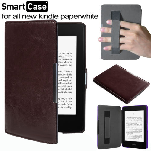 hand strap leather cover case with magnetic for All New for Amazon Kindle Paperwhite 1/2/3+film+stylus+track number camo leather magnetic smart cover case for amazon kindle paperwhite 1 2 3 2013 cover case 1pcs