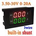 3.5-30 V 20A DC Voltímetro Digital LED Del Voltímetro Del Amperímetro Amp derivación incorporada 12 V 24 V COCHE batería