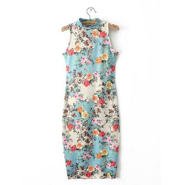 New Spring-Summer Dress Sleeveless Floral Print Cheongsam/Bodycon – Club/Evening/Party