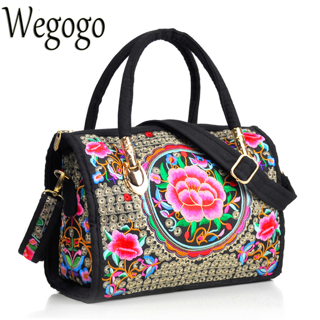 Vintage Women Bag Canvas Flower Embroidered Women Handbag Boho Embroidery Mandala Shoulder Messenger Bag For Woman Girls 1