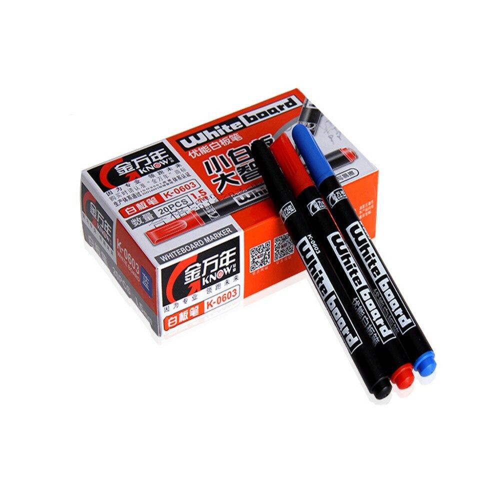 20 Pcs Home School Black Fine Nib Whiteboard Pens White Board Dry-Erase Marker