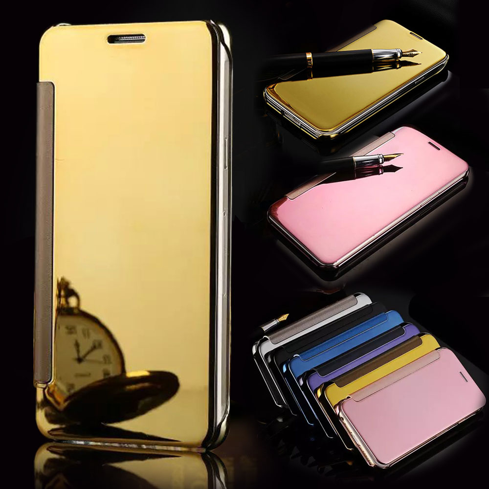 Luxury Clear View Mirror Flip Electroplating cover case For funda Samsung Galaxy s7 g930 /s7 edge g935 case coque