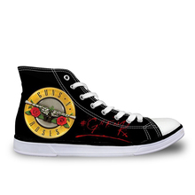 Casual High Top Canvas Shoes for Women Men Lace-up Breathable Shoes,Unisex Female Male Footwear,Guns N Roses Pattern Flats Shoes