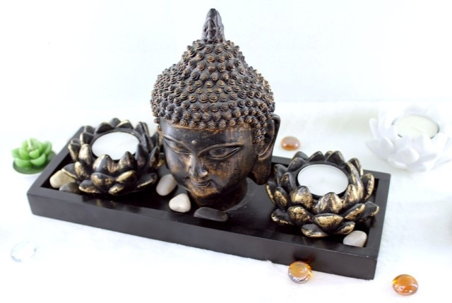 buy buddha zen decoration interior double lotus candle holder craft boutique. Black Bedroom Furniture Sets. Home Design Ideas