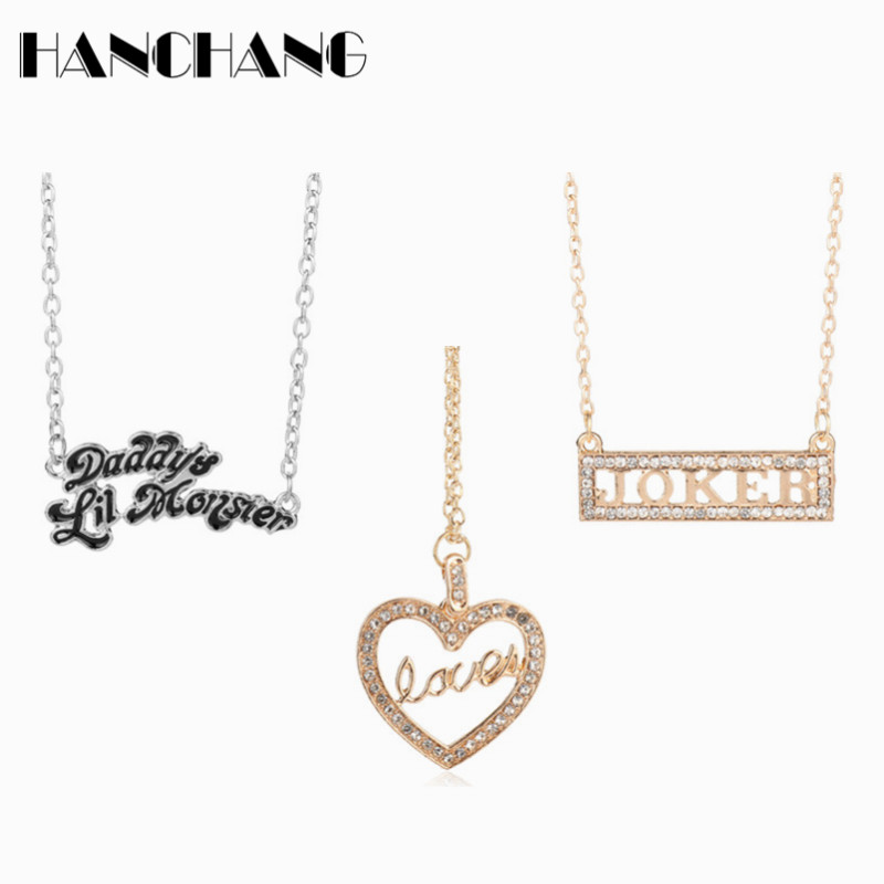 Suicide Squad Necklace daddys lil monster Joker Heart Necklace Collier Women Girls Sweater long chain choker Necklace