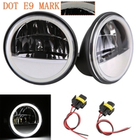 4.5 Inch Reflector LED White Halo Fog Lights Passing Light For Harley Motorcycle Round Led 4 1/2 Auxilary Drive Light