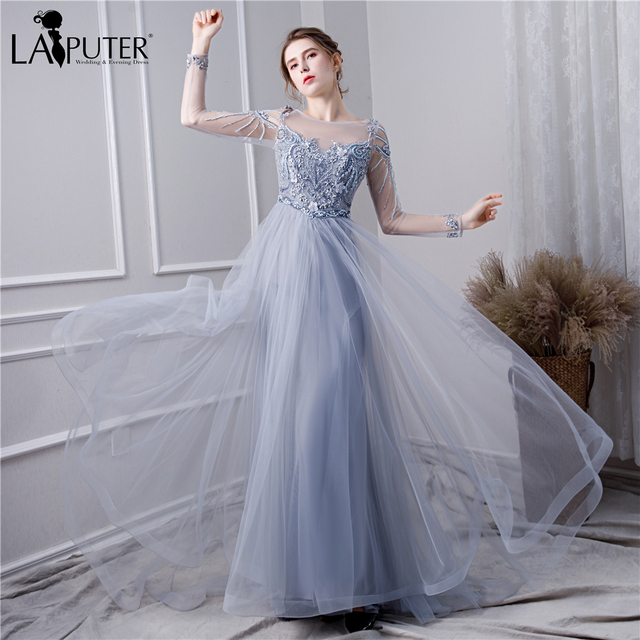 19e60af2fa US $199.0 |LAIPUTER 2019 New A line Evening Dress Long Sleeves with Pearls  Beads Flower Grey Robe De Soiree Longue See Through Prom Gown-in Evening ...