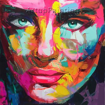 Palette knife painting portrait Palette knife Face Oil painting Impasto figure on canvas Hand painted Francoise Nielly 16-43