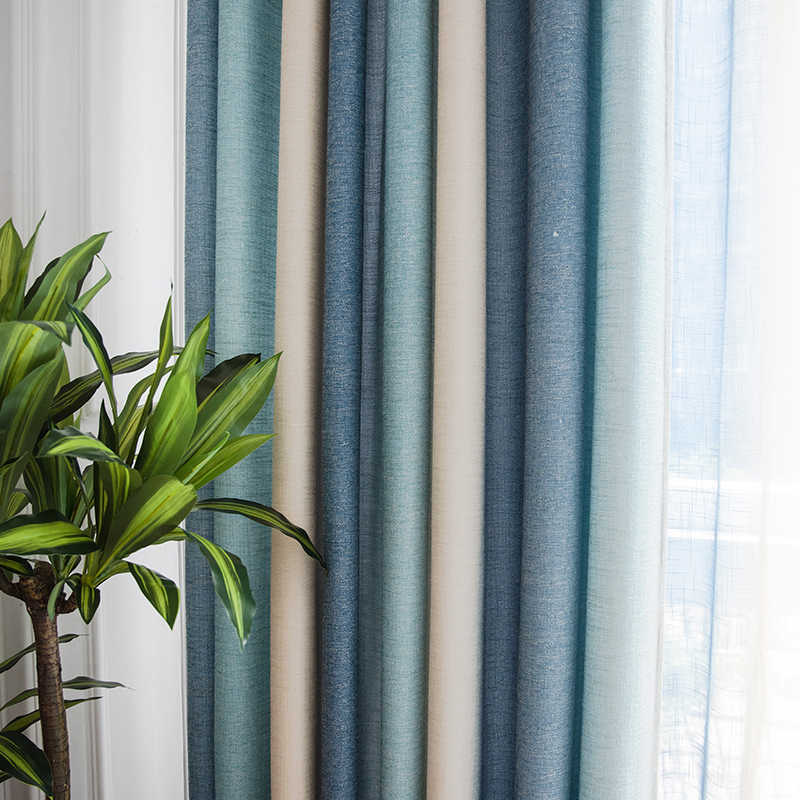 Modern Nordic Colorful Striped Curtains For Living Room Bedroom Blackout Printed Curtain and Tulle Drape Curtains to the Nursery