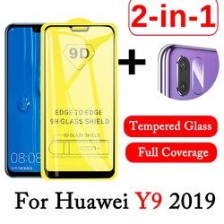 Vidrio Protector de lente 2 en 1 9D para huawei Y9 2019 Protector de pantalla de vidrio templado huawei Y9 Cámara película de lente huwai Y 9 2019 vidrio
