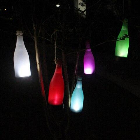 movido a energia solar levou luz garrafa pendurado patio luz solar do jardim da lampada