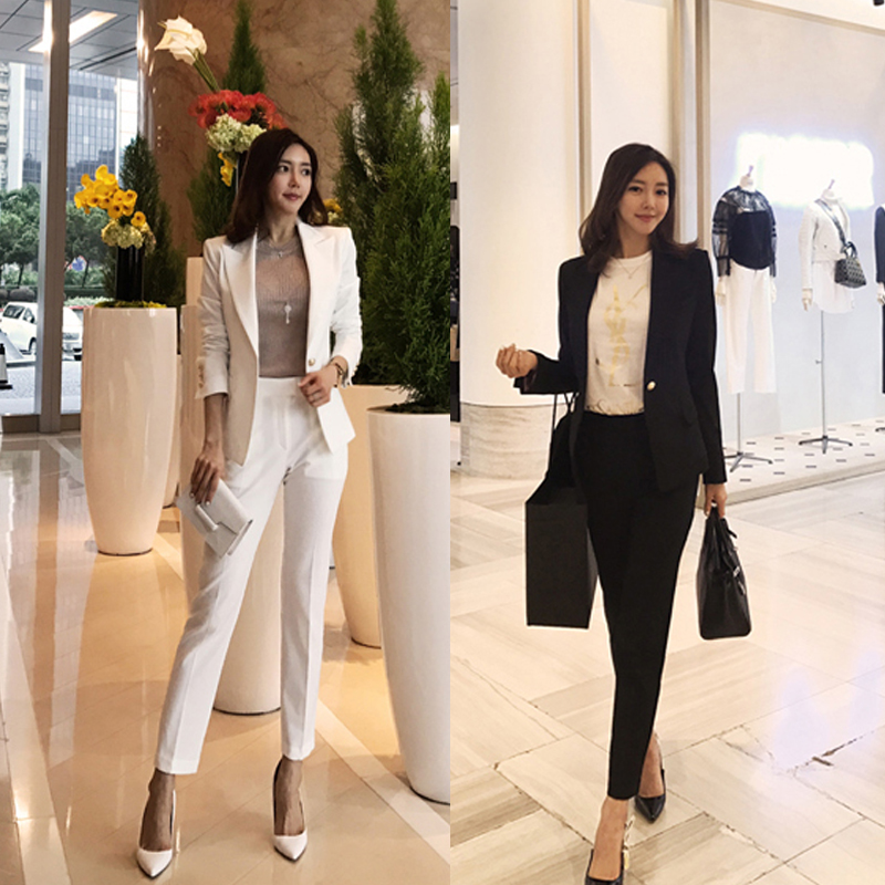 2018 spring white small suit suit female Slim casual small fragrance pink professional interview suit