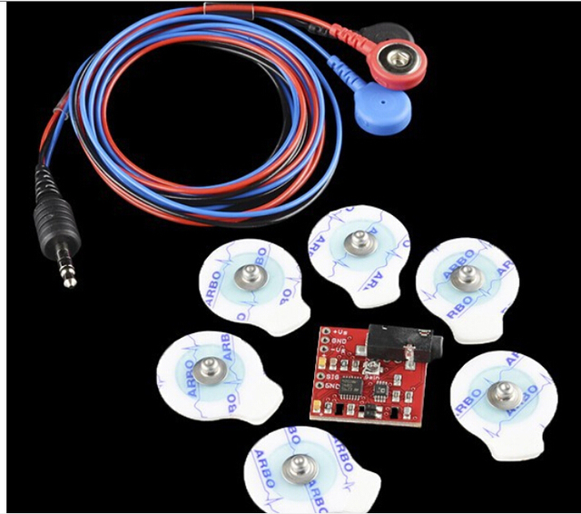 Free Open Source Emg Sensor Kits Muscle with 3 Leads Shield Wire And Medical Grade Agcl Psa Electrodes 6 Pcs