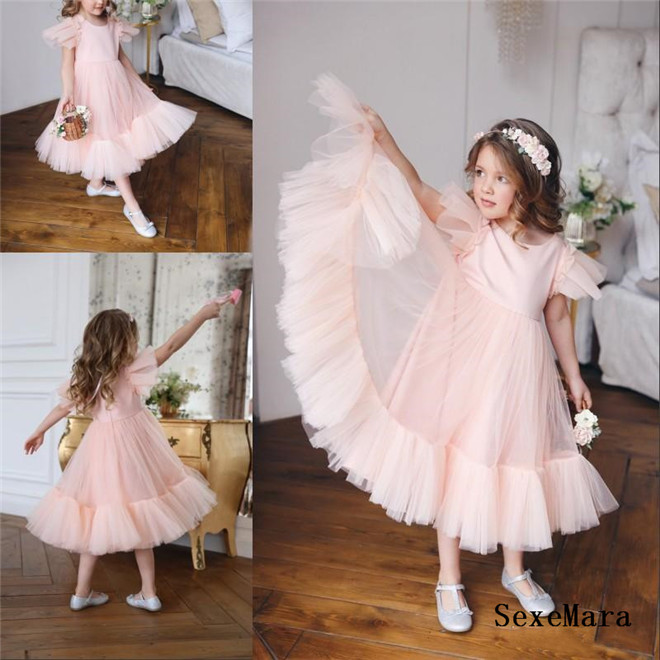 New Pink Tulle Girls Dresses for Party A Line O Neck Zipper Back Kids Children Birthday Dress Pageant Gown Size 2-16Y