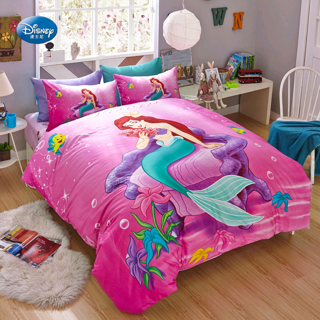 Disney Little Mermaid Ariel Bedding Sets S Children Bedroom Decor 100 Cotton Bedsheet Duvet Cover