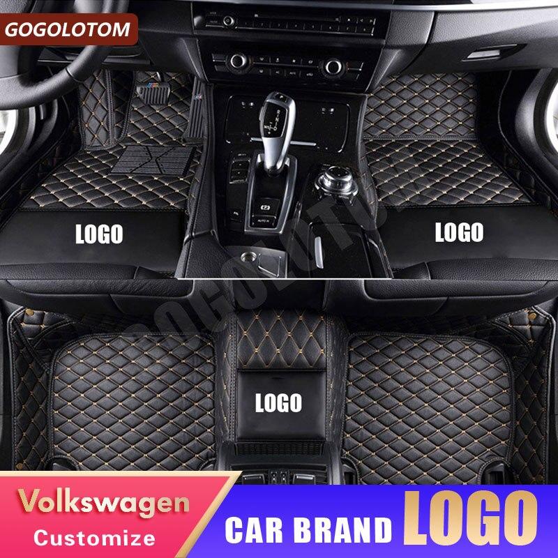 Car Floor Mats for Volkswagen Vw LOGO Up CC Passat B5 B6 B7 B8 Polo Golf 4 5 6 Tiguan Jetta Touran Auto Floor Mat styling