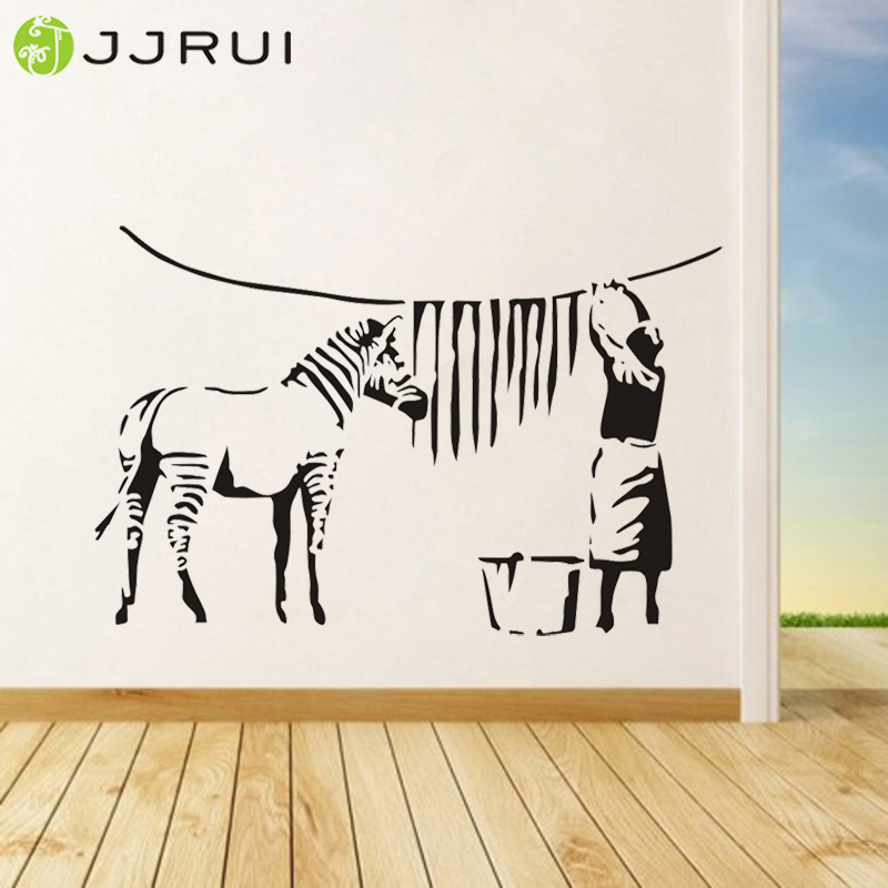 Banksy Graffiti Washed Zebra Stripes Vinyl Large Stickers Wall Street - Dekor në shtëpi